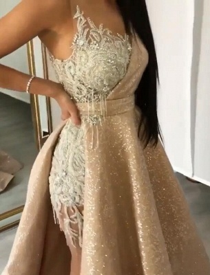 New Arrival Strapless Mermaid Appliques Evening Gown | Overskirt Tassels Sequins Prom Dress BC0980_2