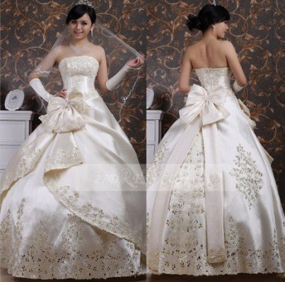 Elegant Strapless Lace Ball Gown Wedding Dress with Bridal Gowns Appliques Designer_1