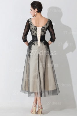 Newest Lace Appliques Tulle Evening Dress Half Sleeve_4