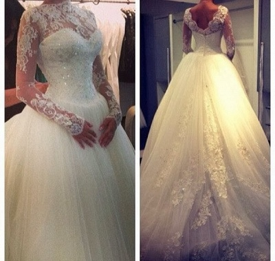 Glamorous High Neck Long Sleeve Tulle Wedding Dress With Beadings Lace Appliques_3