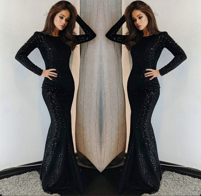 Sexy Black Sequins Prom Dresses | 2020 Long Sleeve Mermaid Evening Gowns BC0376_2