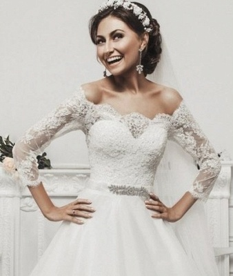 Delicate Tulle Lace Appliques 2020 Wedding Dress 3/4-Length Sleeve Beadings_6