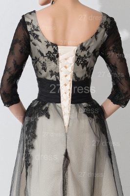Newest Lace Appliques Tulle Evening Dress Half Sleeve_5