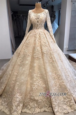 Sleeves Gown Ball Appliques luxurious Long Scoop Wedding Dress_3