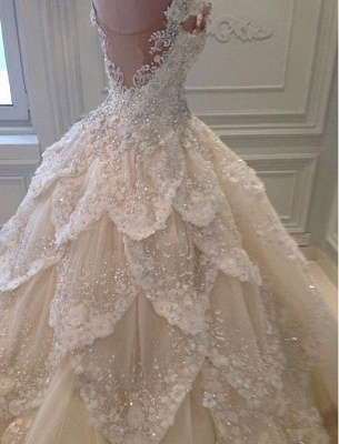 Luxurious Off-the-Shoulder Beads 2020 Wedding Dresses Ball Gown Long Train_2