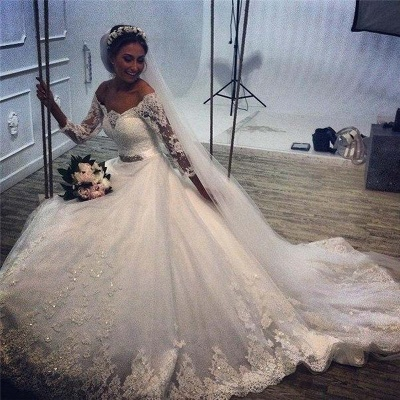 Delicate Tulle Lace Appliques 2020 Wedding Dress 3/4-Length Sleeve Beadings_3