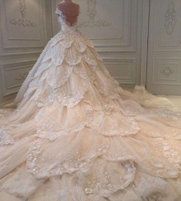 Luxurious Off-the-Shoulder Beads 2020 Wedding Dresses Ball Gown Long Train_3