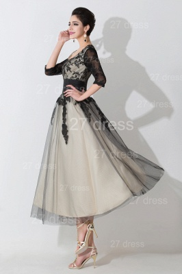 Newest Lace Appliques Tulle Evening Dress Half Sleeve_3
