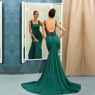 Scoop Green Evening Dress | 2020 Mermaid Ruffles Prom Dress_3