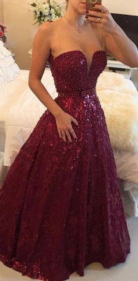 Sweetheart Beadings A-Line Evening Dresses Sexy Floor Length Prom Gowns_1