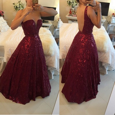 Sweetheart Beadings A-Line Evening Dresses Sexy Floor Length Prom Gowns_3