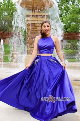 Long Halter Two-pieces Sexy A-line Prom Dresses_3