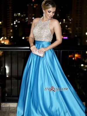Blue backless prom dress, 2020 long evening gowns with beads_3