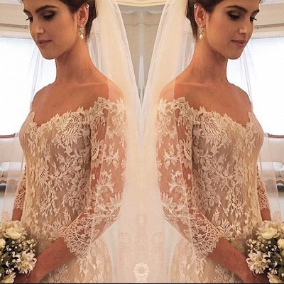 Glamorous Off-the-shoulder 3/4 Length Sleeve 2020 Wedding Dress Lace Tulle_3