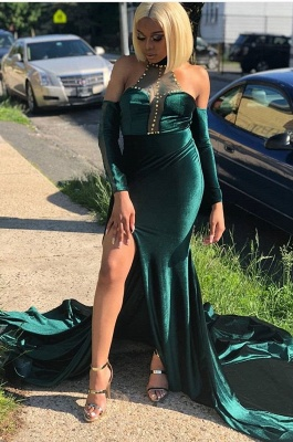2020 Glamorous Halter Mermaid Evening Dress | Beading Front Split Green Prom Gown On Sale_2