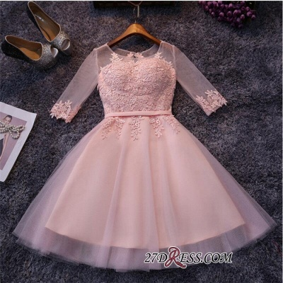 Appliques Short Half-Sleeves Tulle Pink Homecoming Dresses_3