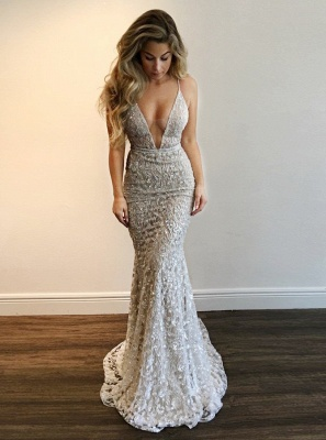 Gorgeous V-Neck Prom Dress | 2020 Lace Mermaid Evening Gowns BA9393 BA7977_1