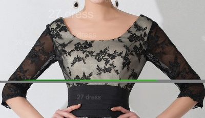 Newest Lace Appliques Tulle Evening Dress Half Sleeve_2