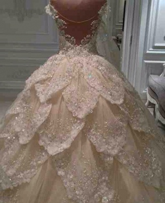 Luxurious Off-the-Shoulder Beads 2020 Wedding Dresses Ball Gown Long Train_4