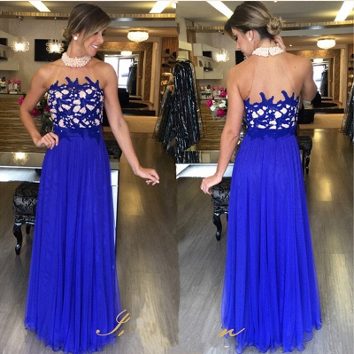 Tulle Royal-Blue Beading Gorgeous Halter High-Neck Long Prom Dresses_2