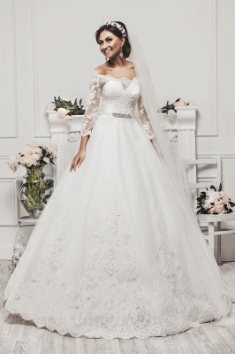 Delicate Tulle Lace Appliques 2020 Wedding Dress 3/4-Length Sleeve Beadings_1
