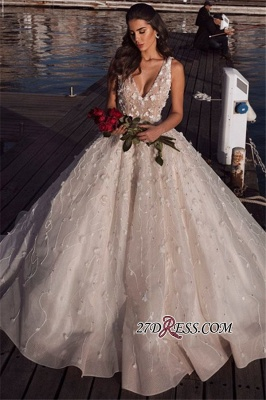 Glamorous V-Neck Ball Gown Wedding Dresses | 2020 Sleeveless Appliques Bridal Gowns_3