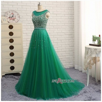 Elegant Scoop Sleeveless 2020 Evening Dresses Long Green Party Gowns With Crystals_2