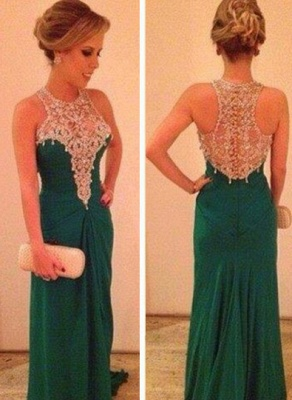 Long Chiffon High Neck Prom Dress Lace Appliques Sleeveless Evening Party Gowns_1