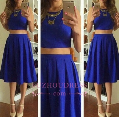 Knee-Length Short Royal-Blue Cute Sleeveless Two-Piece Homecoming Dresses_1