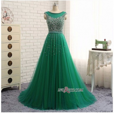 Elegant Scoop Sleeveless 2020 Evening Dresses Long Green Party Gowns With Crystals_1