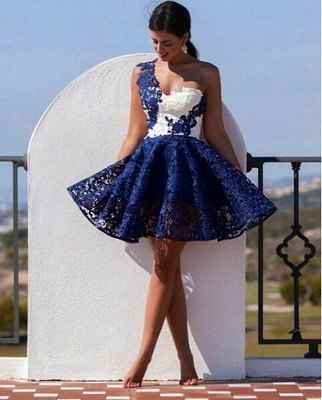 Cute One Shoulder Lace Homecoming Dress 2020 Short Prom Dress_1