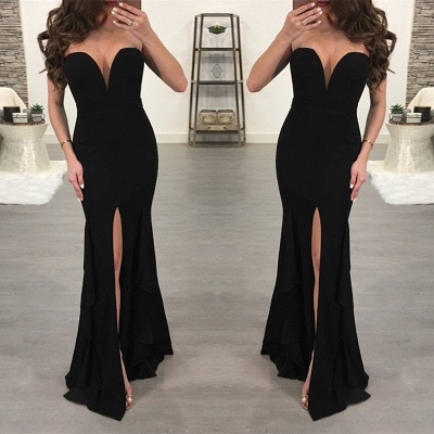 Sexy Black Sweetheart Evening Dress | 2020 Mermaid Prom Dress With Slit BC0507_3