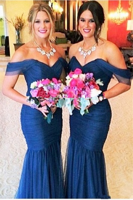 Sexy Off-shoulder Mermaid Bridesmaid Dress Floor-length With Tulle_1