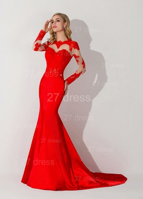 Sexy Red Mermaid Lace Appliques Evening Dress Long Sleeve_2