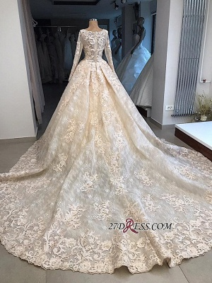 Sleeves Gown Ball Appliques luxurious Long Scoop Wedding Dress_1