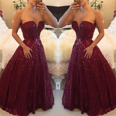 Sweetheart Beadings A-Line Evening Dresses Sexy Floor Length Prom Gowns_2