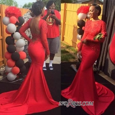 Backless Jewel Sleeves Lace Long Mermaid Red Prom Dress BK0_1