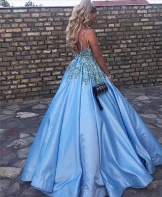 Baby Blue V-Neck 2020 Evening Dress Lace Appliques Crystals Long Prom Gowns_3