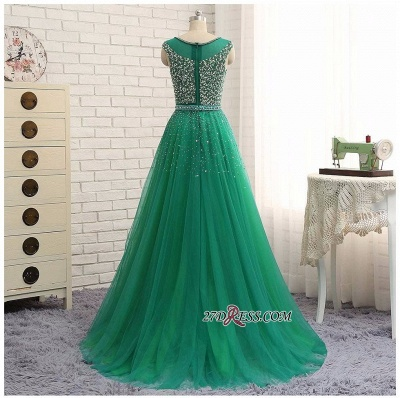 Elegant Scoop Sleeveless 2020 Evening Dresses Long Green Party Gowns With Crystals_3