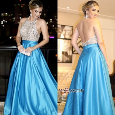 Blue backless prom dress, 2020 long evening gowns with beads_2