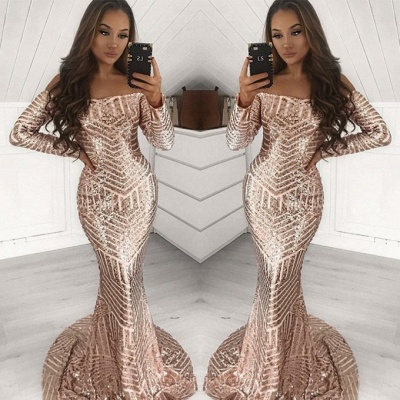 Gorgeous Long Sleeve Sequins Prom Dress | 2020 Mermaid Long Evening Gowns_2