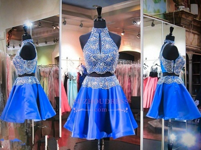 2020 Sleeveless Beads Two-Piece Mini High-Neck Delicate Homecoming Dress_1
