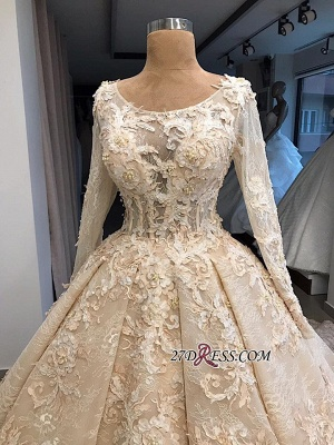Sleeves Gown Ball Appliques luxurious Long Scoop Wedding Dress_2