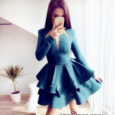 Short Layered Long-Sleeves Alluring A-line Jewel Homecoming Dresses_1