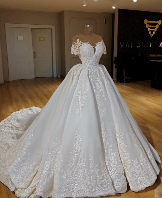 Elegant Lace Ball Gown Wedding Dresses Scoop Short Sleeves Long Bridal Gowns BC0814_2