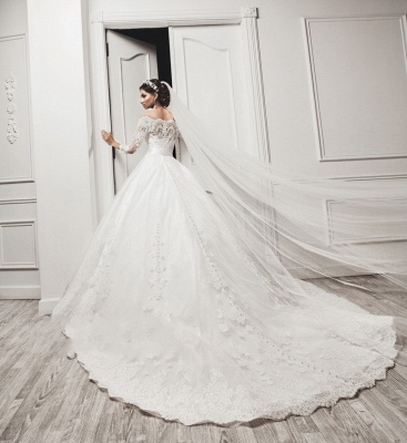 Delicate Tulle Lace Appliques 2020 Wedding Dress 3/4-Length Sleeve Beadings_4