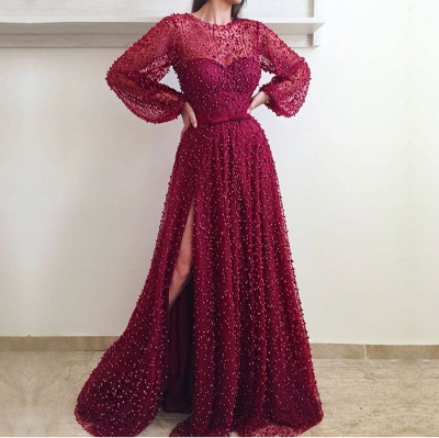 Gorgeous Long Sleeve 2020 Evening Gown | Beadings Prom Dress With Slit BC0258_2