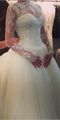 Glamorous High Neck Long Sleeve Tulle Wedding Dress With Beadings Lace Appliques_1
