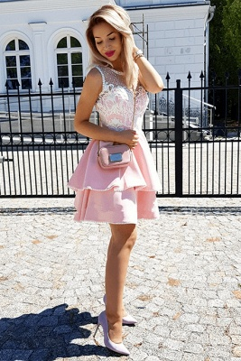 Fashion Lace Pink Beads Ruffled Homecoming Dress | 2020 Short Formal Gown_2