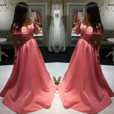 Sexy Off-the-shoulder A-line Prom Dress | Simple Prom Dress_4